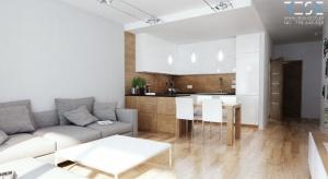 Niewielkie mieszkanie urządzone zostało w nowoczesnym stylu. Zobaczcie gotowy projekt wnętrza projektu Piotra Zabłockiego.