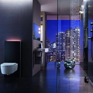 Moduł sanitarny GEBERIT MONOLITH wykonany ze szkła i szczotkowanego aluminium z kompletną technologią sanitarną. Może być podłączony do istniejącej instalacji wodnej i kanalizacyjnej, do stojących i wiszących misek WC; dwudzielne spłukiwanie; cztery kolory: biały, czarny, umbra, mint. Fot. Geberit