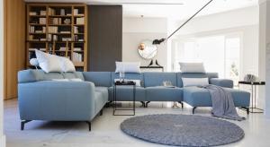 Stonowaną aranżację salonu warto ożywić kolorem. Odcienie niebieskiego wprowadzą do wnętrza wakacyjny nastrój.
