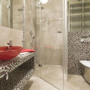 Mimo małego metrażu pomieszczenie jest bardzo funkcjonalne. Strefa prysznicowa z kabiną z gładkiego szkła wydaje się wręcz niewidoczne. Projekt: Małgorzata Chabzda. Fot. Bartosz Jarosz