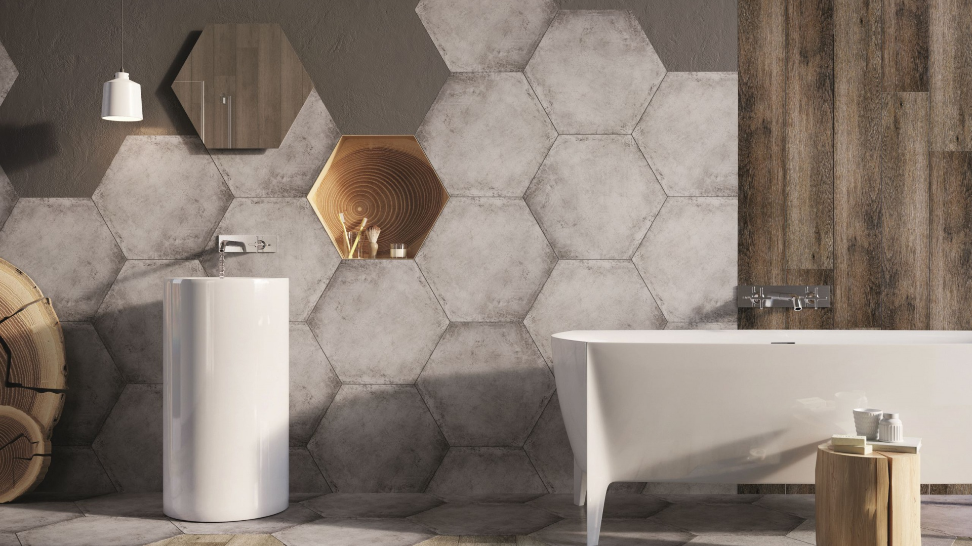 Płytki gresowe z kolekcji HEXON o supermodnym heksagonalnym kształcie imitują beton. Na ściany i podłogi; wymiary 60x52 cm. 149 zł/m². Fot. Ceramstic