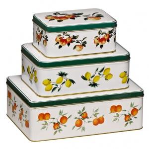 Komplet 3 pudełek ORCHARD FRUITS idealnych do przechowywania herbat w torebkach. 55 zł. Fot.  Westwing