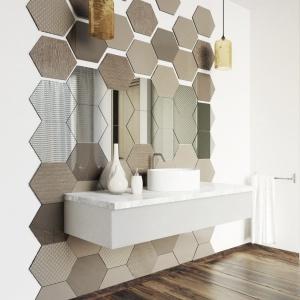 Przestrzen łazienki. Wyróżnienie - Szkło ornamentowe Colorimo Hexi/Mochnik