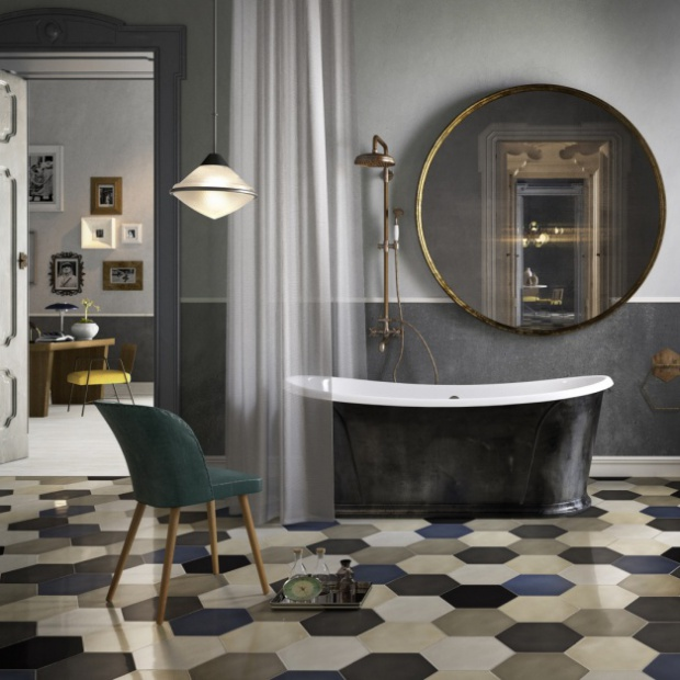 Patchworkowe płytki: zobacz modne pomysły na podłogę w łazience