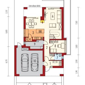 Parter:  1. Wiatrołap 4.63 m2  2. Hol + schody 15.28 m2  3. Kuchnia 8.89 m2  4. Spiżarnia 1.16 m2  5. Jadalnia 9.56 m2  6. Pokój dzienny 18.37 m2  7. Toaleta 2.37 m2  8. Gabinet 9.28 m2  9. Kotłownia 6.35 m2  10. Garaż 33.55 m2 Projekt: Riko III G2, autor: arch. Artur Wójciak, Fot. Pracownia Projektowa Archipelag
