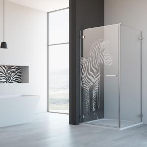 Kabina prysznicowa Arta KDJ I z dekoracyjnym grawerem Zebra. Fot. Radaway