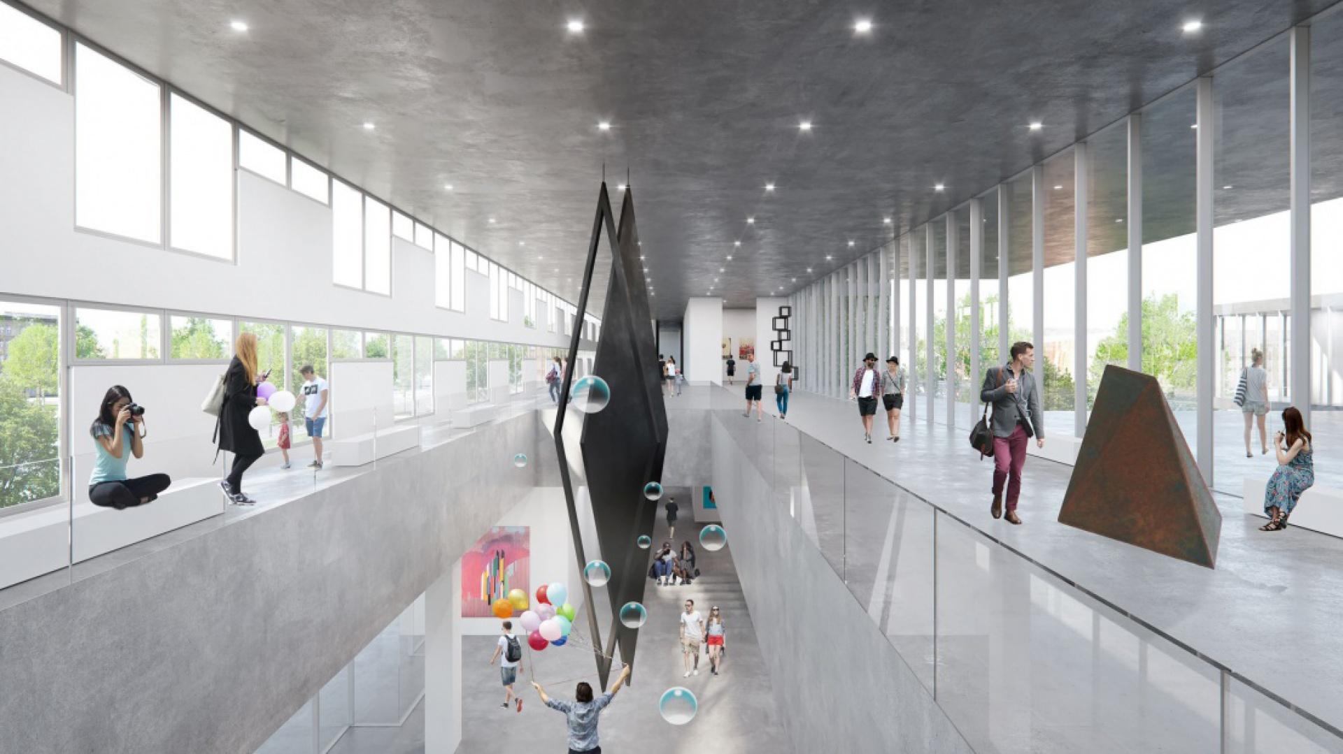Koncepcja przewiduje stworzenie Muzeum Architektury i Designu, wraz z przestrzeniami warsztatowymi, które w założeniu miałoby działać w pełnej symbiozie z Muzeum Narodowym. Autor: Alicja Nowak