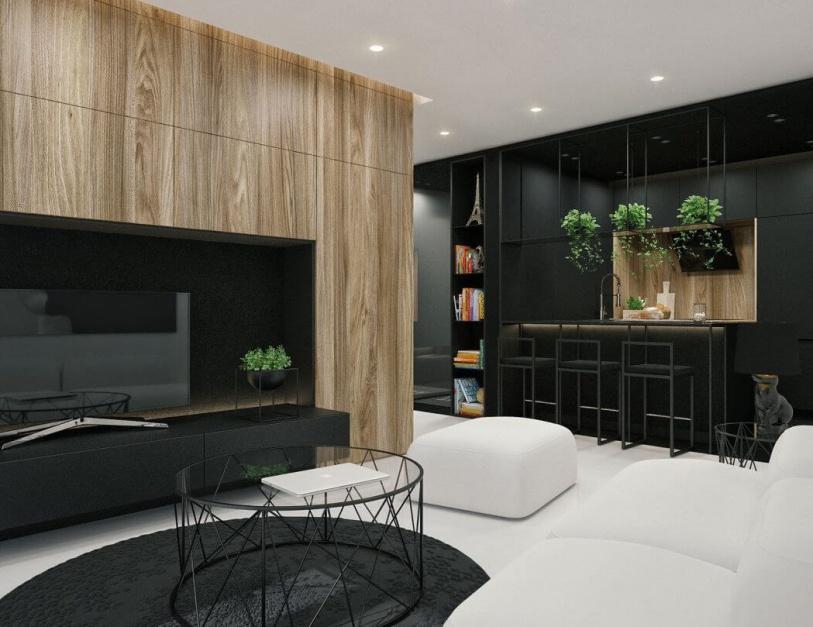 Nowoczesne mieszkanie urządzono w kontrastowej bieli i czerni. Fot. IDWhite