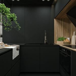 Zabudowa kuchenna w pięknej matowej czerni. Fot. IDWhite
