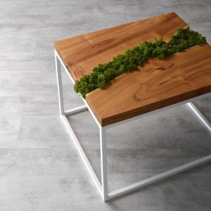 Oryginalny Stolik z mchem umieszczonym w blacie z drewna akacjowego to namiastka lasu w domu. 72x62x50 cm. Od 1.800 zł. Fot. Malita Just Wood