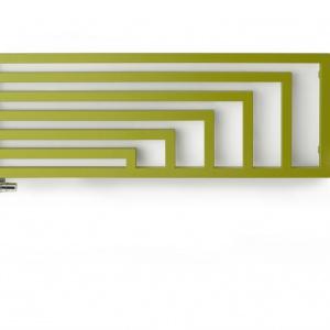 Bryła grzejnika ANGUS bazuje na ciekawym, geometrycznym wzorze. Model został opracowany w dwóch wariantach mocowania, jako ażurowa ściana działowa i w wersji przylegającej do ściany. Proj. Artes Design. Fot. Terma