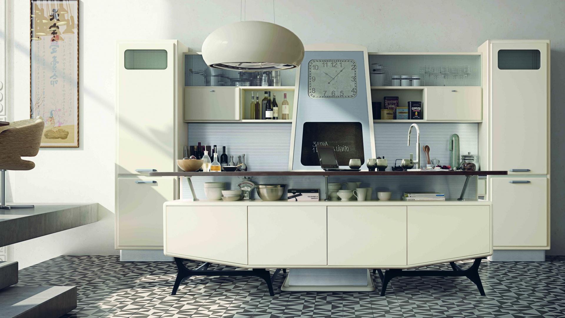 Obłe formy oraz pastelowa kolorystyka kuchni SAINT LOUIS nawiązują do kreacji przestrzeni kuchennych z lat 50. ub. w. Na zamówienie. Fot. Marchi Cucine