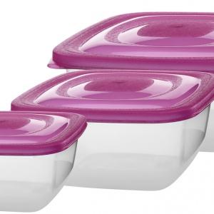 Komplet pojemników Trio z bezpiecznego i higienicznego tworzywa wysokiej jakości. Idealny do przechowywania żywności w lodówce, zamrażania jej oraz pakowania porcji na wynos. Zakres temperatur wynosi od +100 stopni C do -30 stopni C. W komplecie znajdują się pojemniki: 1 l; 1,5 l oraz 2,5 l. Dostępne w trzech kolorach: róż, turkus, zielony. Cena brutto: 11,49 zł. Fot. Galicja dla Twojego Domu