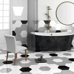 Płytki do łazienki: 10 czarno-białych kolekcji