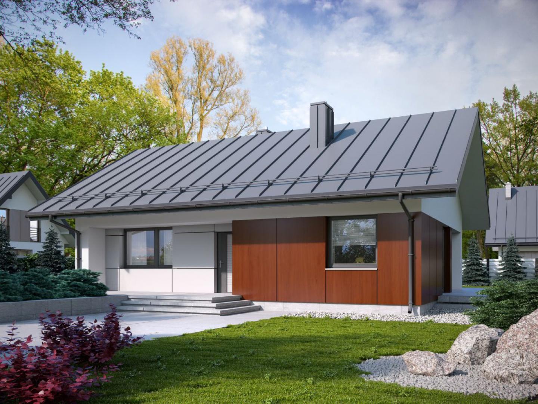 Konstrukcja dachu i duże podcienie powiększają optycznie ten niewielki dom. Kolorystyka fasady nadaje mu eleganckiego charakteru. Dom będzie łatwy i tani w budowie Fot. Archetyp