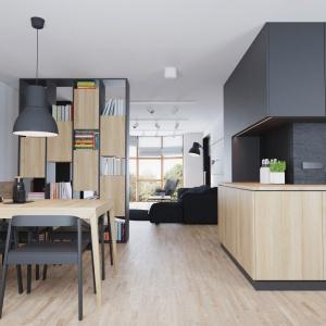 Kuchnia połączona z salonem i jadalnia to najlepszy pomysł na optyczne powiększenie małego mieszkania. Projekt: Sebastian Łucjan, Przemo Metko, Patryk Turewicz. Fot. 081 Architekci