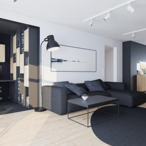 W przestrzeni salonu można wygospodarować praktyczne miejsce do pracy. Projekt: Sebastian Łucjan, Przemo Metko, Patryk Turewicz. Fot. 081 Architekci
