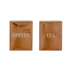 Pojemniki na kawę i herbatę z serii COFFEE/TEA stworzone z połączenia drewna bambusowego (pokrywa) i metalu w odcieniu ciemnego złota w stylu vintage. 122,85 zł/zestaw. Fot. Bloomingville