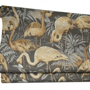Motyw złotych flamingów na tapecie z kolekcji AVALON (wzór Flamingo) zapewni wnętrzu oryginalny wygląd. 643 zł/rolka, Arte/ Decodore.pl