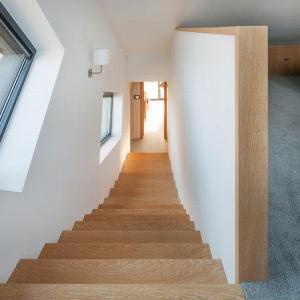 Okna wzdłuż biegu schodów doskonale doświetlają klatkę a kształtem podkreślają dynamikę bryły, która wraz ze schodami unosi się do góry. Projekt: arch. Tadeusz Lemański. Fot. Tomasz Zakrzewski