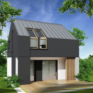 Wzrost zainteresowania budownictwem pasywnym sprawił, że firmy zaczęły wprowadzać do swojej oferty domy mieszkalne spełniające wymagania technologii pasywnej. Projekt domu bez okapu Passiv 50. Fot. ArtHauss