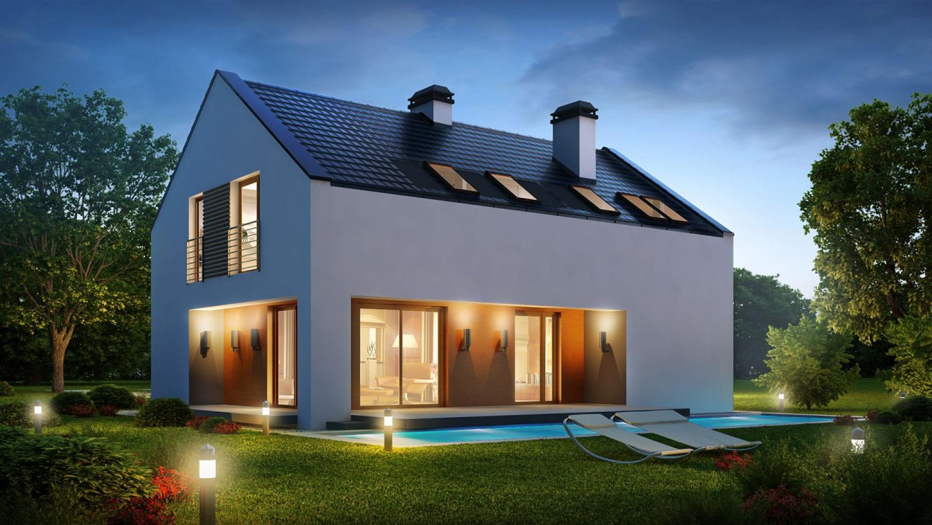 Domy bez okapu mają z reguły prostą bryłę, ale dzięki możliwości zastosowani dużych przeszkleń oraz wewnętrznych tarasów efekt końcowy może być naprawdę ciekawy. Projekt Z222. Fot. Z500