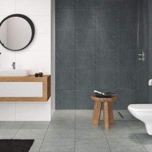 W dużej łazience możemy pozwolić sobie na mniejsze, okrągłe lustro. Fot. Cersanit