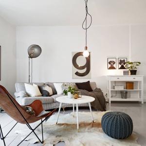 Charakter pomieszczenia ocieplają tkaniny i meble: przytulna sofa ze stosem dekoracyjnych poduch, dywan z motywem zwierzęcym i wełniany, urokliwy puf. Fot. Stadshem.