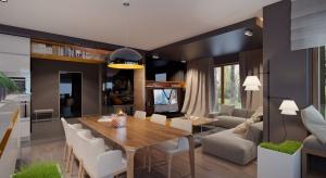 Nowoczesny dom parterowy z poddaszem użytkowym i dwustanowiskowym garażem będzie optymalnym rozwiązaniem dla 4-5-osobowej rodziny. Powierzchnia użytkowa powyżej 160 metrów kwadratowych daje też duże możliwości adaptacji wnętrza.