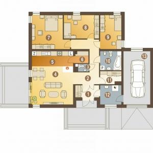 PARTER: 105,50 m2 1. wiatrołap – 4,40 m2 2. hol – 14,20 m2 3. salon – 24,70 m2 4. kuchnia – 6,70 m2 5. spiżarnia – 1,90 m2 6. łazienka – 2,90 m2 7. pokój – 16,20 m2 8. pokój – 9,50 m2 9. pokój – 10,80 m2 10. pokój – 8,40 m2 11. łazienka – 5,80 m2 12. pom. gospodarcze* – 6,00 m2 13. garaż* – 22,10 m2 Dom Kalandra (A). Projekt: arch. Maja Klimowicz. Fot. Dom dla Ciebie Pracownia Projektowa Archeco