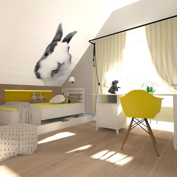 Kolorowy pokój dziewczynki na poddaszu