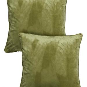Poszewki Multipack w kolorze zamglonej zieleni wykonane z aksamitu z pięknym połyskiem. 49 zł/2 szt. Fot. Halens