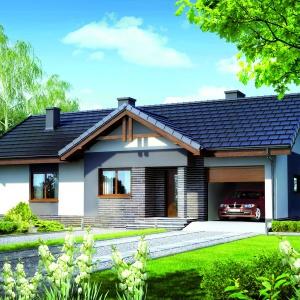 Niewielki (pow. użytkowa: 83,23 m2), nowoczesny dom z garażem o programie funkcjonalnym rozwiązanym na jednym poziomie. Dom w Nerinach ver.2. Fot. Archon +