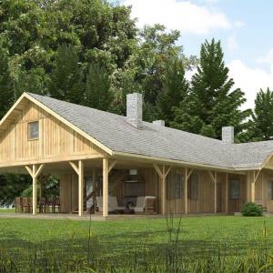 Dom zaprojektowany z myślą o inwestorach, którym potrzebny jest dom do wypoczynku, na wakacje lub weekendowe wyjazdy o każdej porze roku. Obszerna weranda potraktowana została jako przedłużenie funkcji dziennej na zewnątrz. Projekt: N5 Drewniany z dużą werandą. Fot. S&O Projekty Sylwii Strzeleckiej