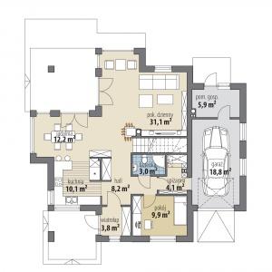 Rzut parteru: 82,40 m2 1. wiatrołap – 3,80 m2 2. hol – 8,20 m2 3. kuchnia – 10,10 m2 4. jadalnia – 12,20 m2 5. pokój dzienny – 31,10 m2 6. łazienka – 3,00 m2 7. spiżarnia – 4,10 m2 8. pokój – 9,90 m2 9. garaż* – 18,80 m2 10. pom. gospodarcze* – 5,90 m2 Dom Aria. Projekt: Marcin Abramowicz, Jagoda Gruca. Fot. Dobre Domy