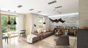 Aria to projekt domu z poddaszem użytkowym. Elegancka bryła budynku, zaprojektowana w klasycznym stylu, podkreślona została nowoczesnymi wykończeniami. Wnętrze zaprojektowano nowocześnie:dominuje w nim drewno i światło.