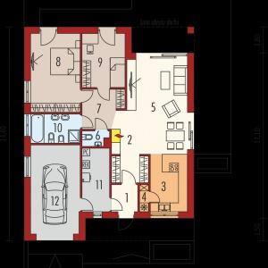 Rzut domu: 1. Wiatrołap - 3.16 m² 2. Hol - 4.56 m² 3. Kuchnia - 9.56 m² 4. Spiżarnia - 1.04 m² 5. Pokój dzienny + jadalnia - 28.53 m² 6. Toaleta - 1.63 m²7. Korytarz - 6.85 m² 8. Sypialnia - 17.53 m² 9. Sypialnia - 10.38 m² 10. Łazienka - 6.42 m² 11. Pom. techniczne - 7.82 m²12. Garaż - 19.08 m². Fot. Archipelag