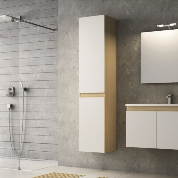 Wybieramy meble do łazienki w bieli i kolorach drewna