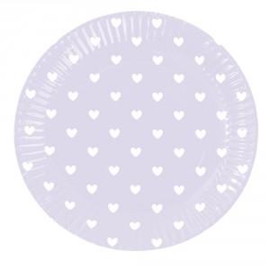 Komplet papierowych talerzy Lavender Hearts 8 szt.. Cena: ok. 34zł. Fot. Bonami.pl