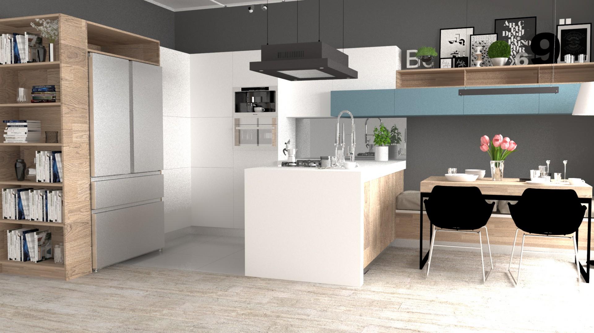 Kuchnia z duża lodówką. Fot. Progetti/Haier