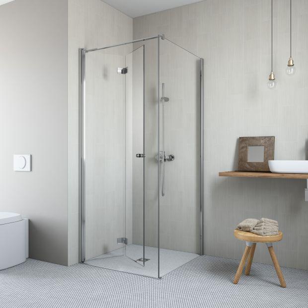 Mała łazienka: nowe kabiny ze składanymi drzwiami