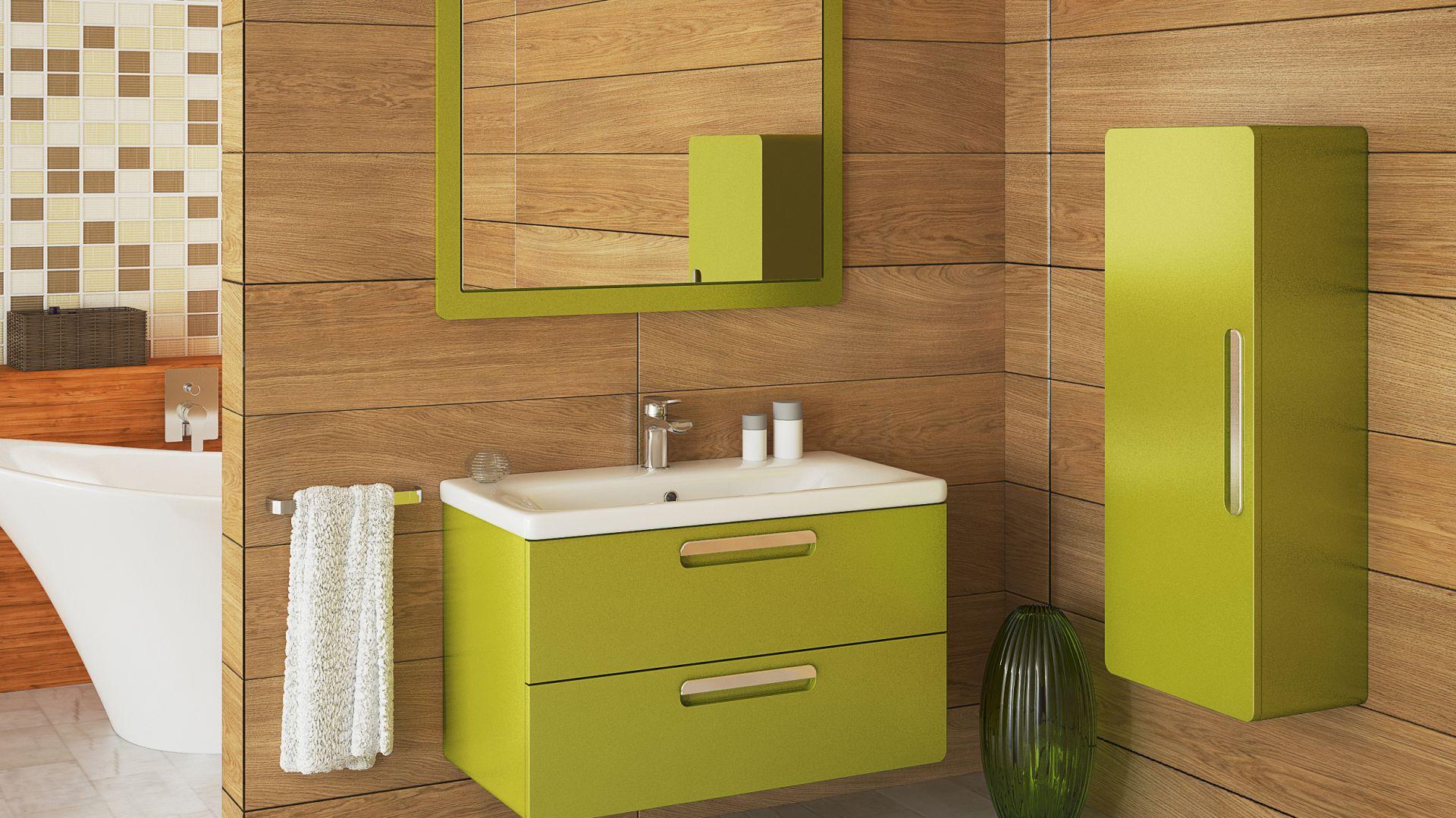 Zestaw mebli łazienkowych Sonus F54 lakierowanych na modny zielony kolor firmy Devo, www.devo.pl. Fot. Devo