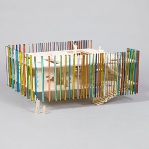 Studio DRMM zaprojektowało oryginalny budynek z drewna z dodatkiem barwnych zakładek. Fot. www.thegrid.soup.io