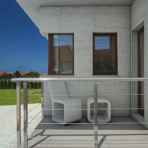 Płyty z betonu architektonicznego świetnie sprawdzą się zarówno wewnętrzach, jak ina zewnątrzpomieszczeń (tarasy i balkony). Są niezwykle wytrzymałym i dekoracyjnym materiałem. Na zdjęciu: Na zdjęciu: płyta Slim natural i trawertyn, Modern Line.