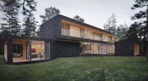 Położony na działce leśnej budynek idealnie komponuje się z otaczającą go przyrodą. Kamienna elewacja domu nawiązuje do ciemnych pni sosen, które rosną na tym terenie. Aby zmniejszyć wrażenie masywności czarnej bryły, wszystkie wnęki zosta