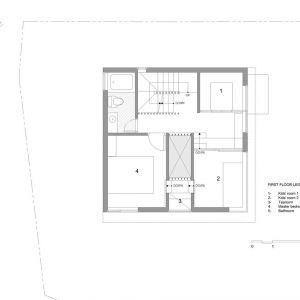Druga kondygnacja to strefa prywatna - sypialnia właścicieli i dzieci oraz łazienka.