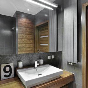 Oświetlenie lustra w łazience. Projekt: Ewa Para. Fot. Bernard Białorucki