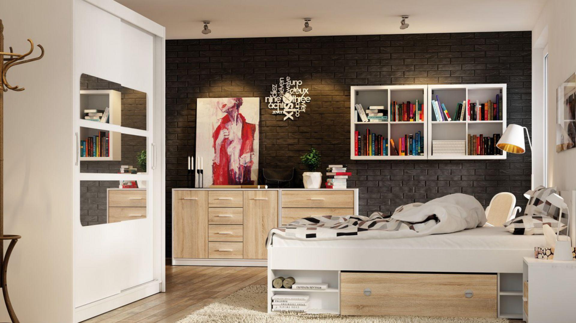 Niewielkie gabaryty mebli NEPO pozwalają maksymalnie wykorzystać nawet małą przestrzeń. Pod łóżkiem praktyczne szuflady. 429 zł (łóżko). Fot. Black Red White