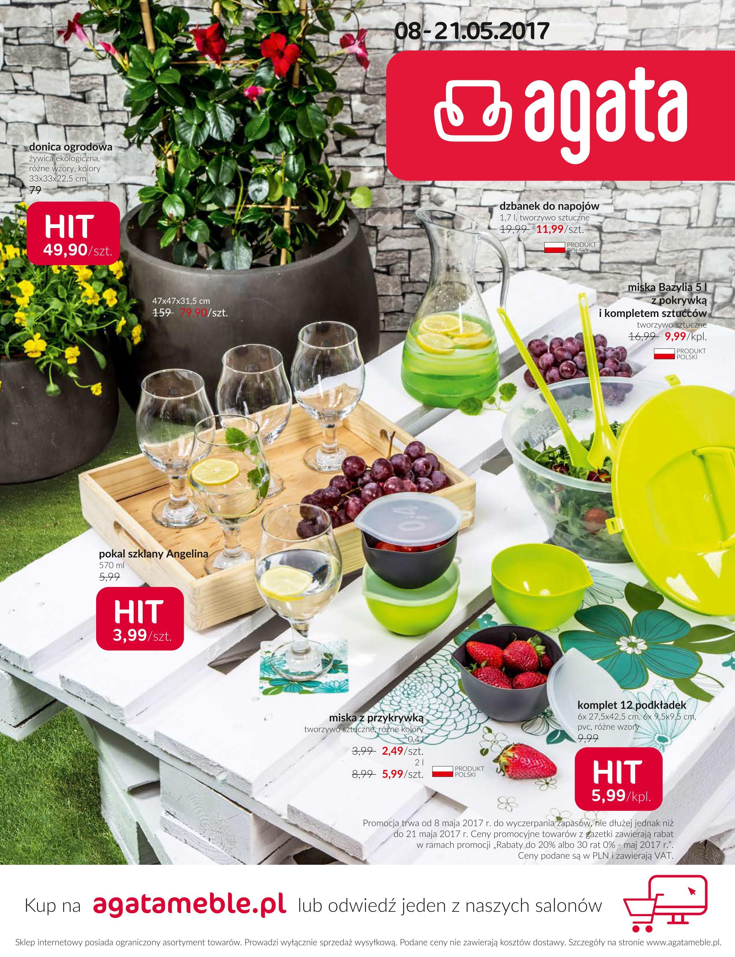 Zajrzyj do aktualnej gazetki promocyjnej marki Agata. Promocją objęto lampy wiszące, plafoniery, koszyki zakupowe, rękawice kuchenne, dywany oraz inne akcesoria.