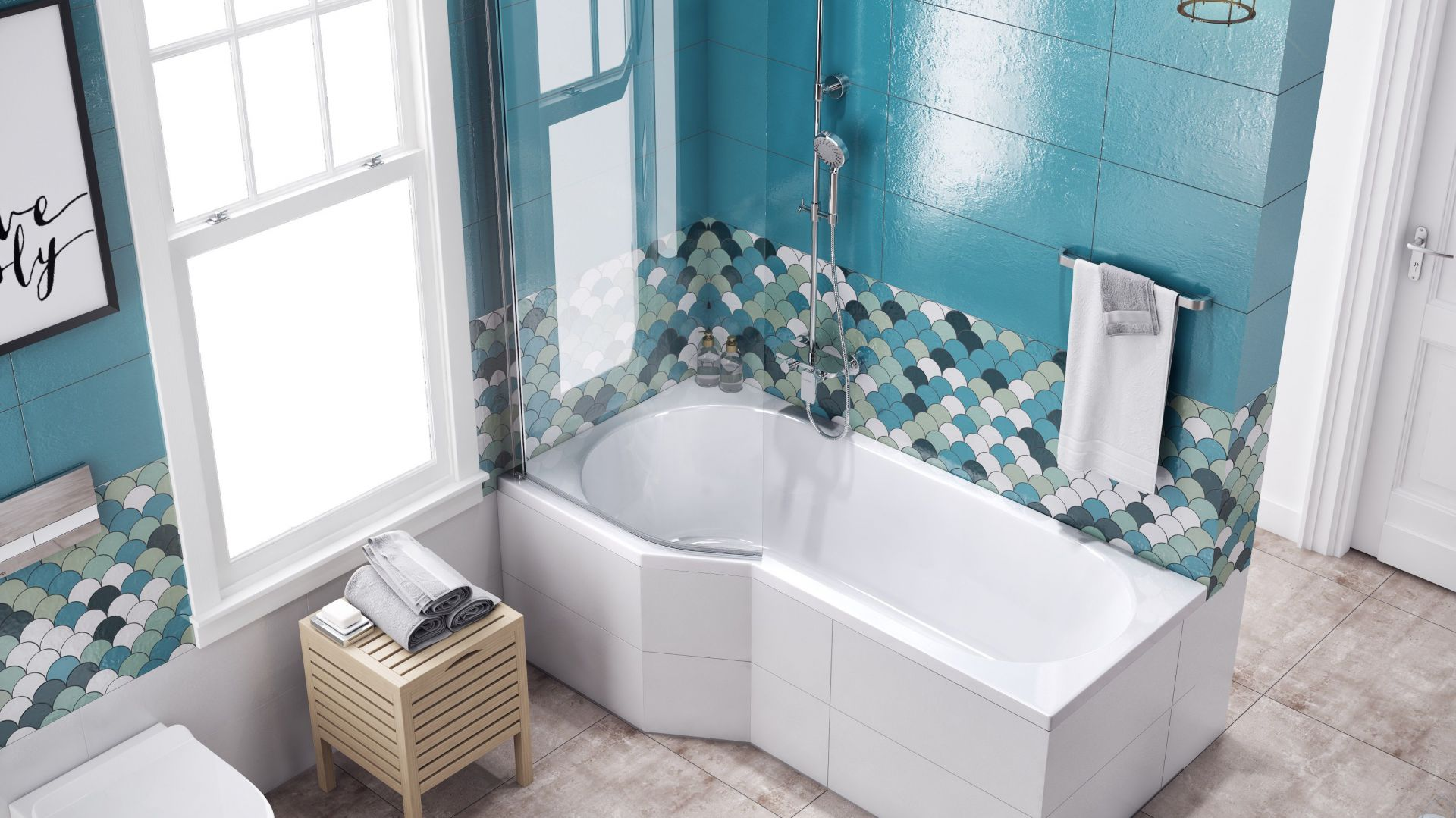 Parawan nawannowy jednoczęściowy gięty BE SPOT to sposób na połączenie funkcji wanny i prysznica na małej przestrzeni; w wersji lewej i prawej. Fot. Excellent